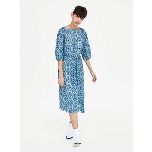 Zara Turqouise Embroidered Tunic Midi Dress